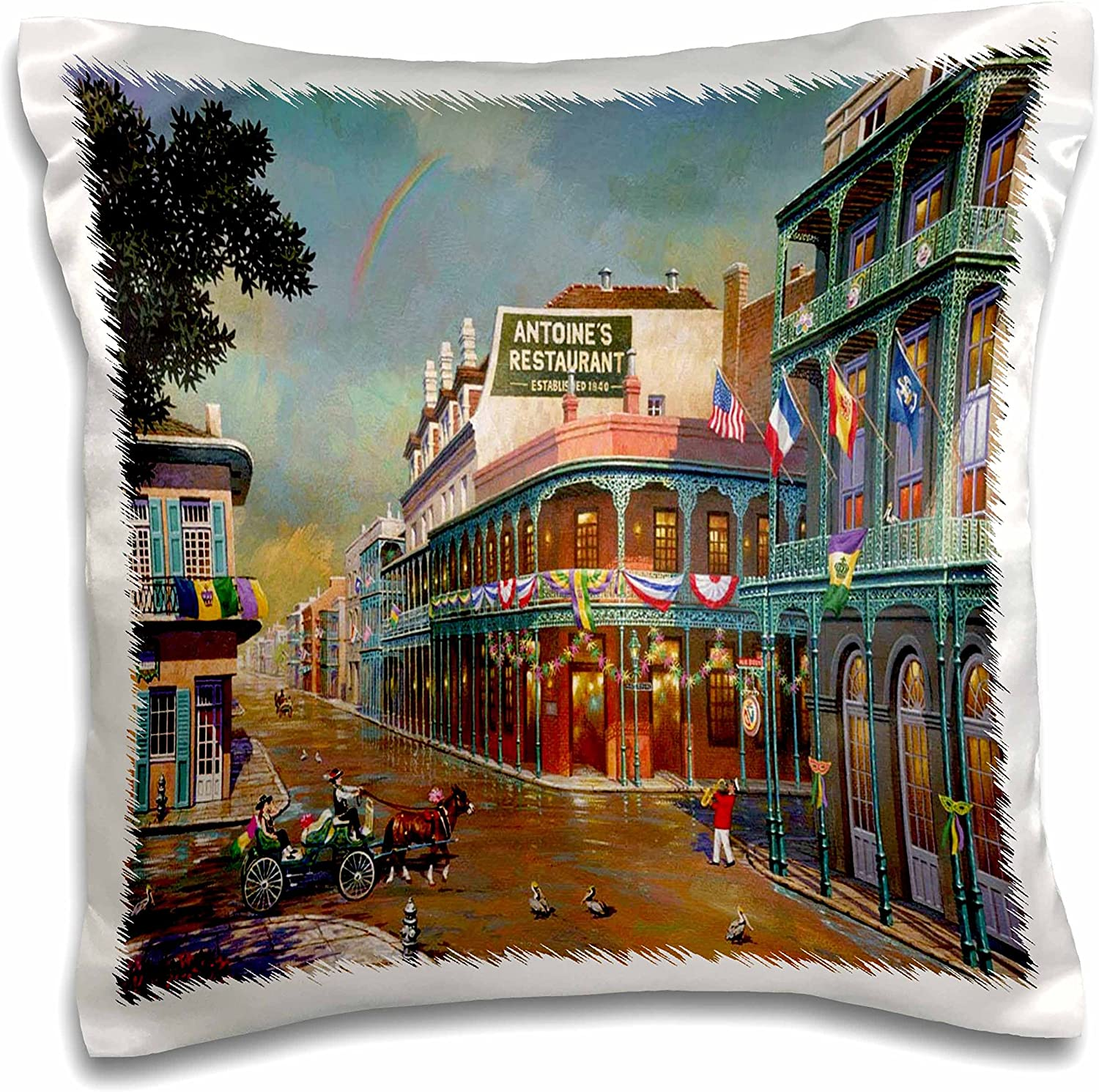 Amazon Com 3drose Old New Orleans Painting Pillow Case 16 By 16 Inch Pc 80505 1 Arts Crafts Sewing