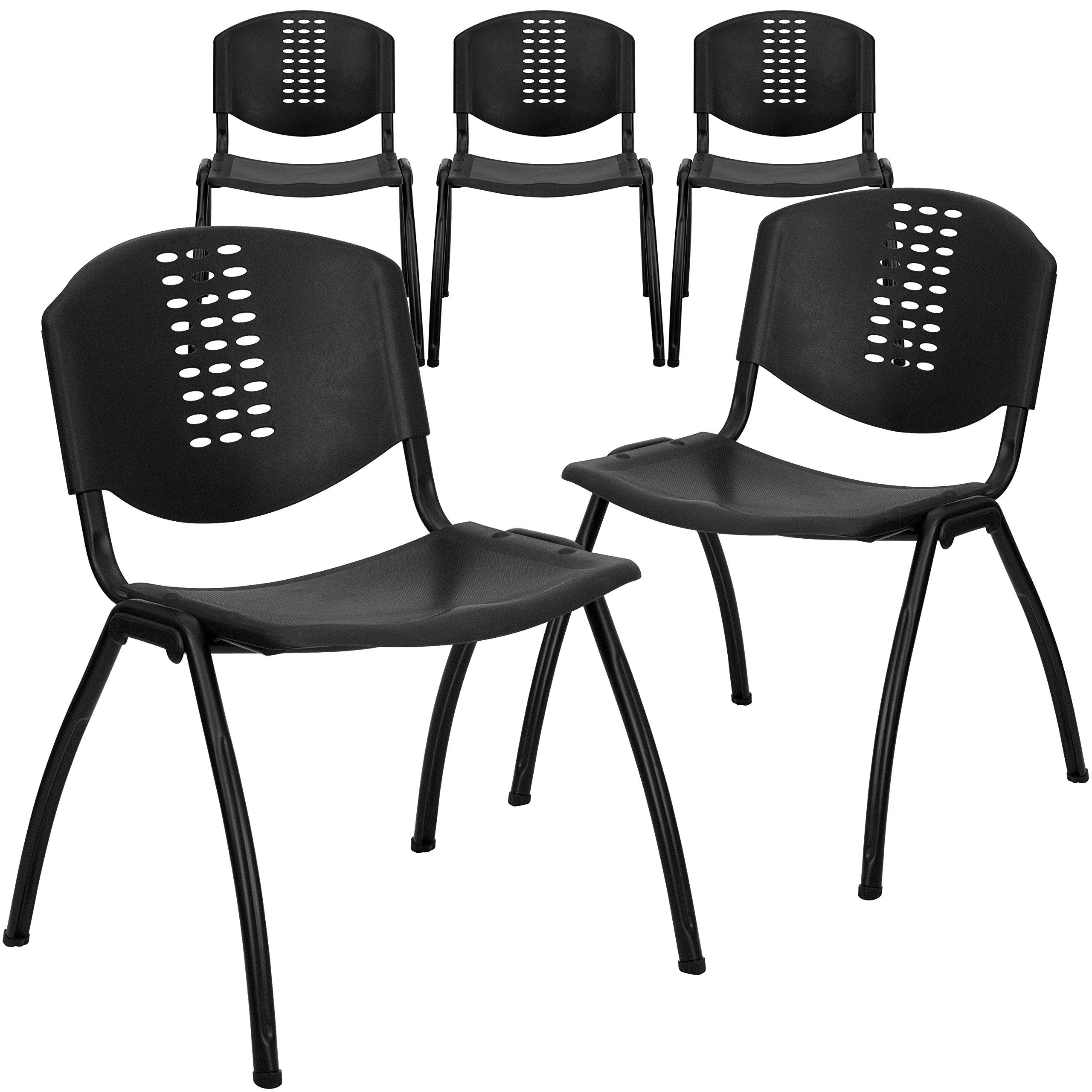 Flash Furniture 5 Pk. HERCULES Series 880 lb. Capacity Black Plastic Stack Chair with Black Frame