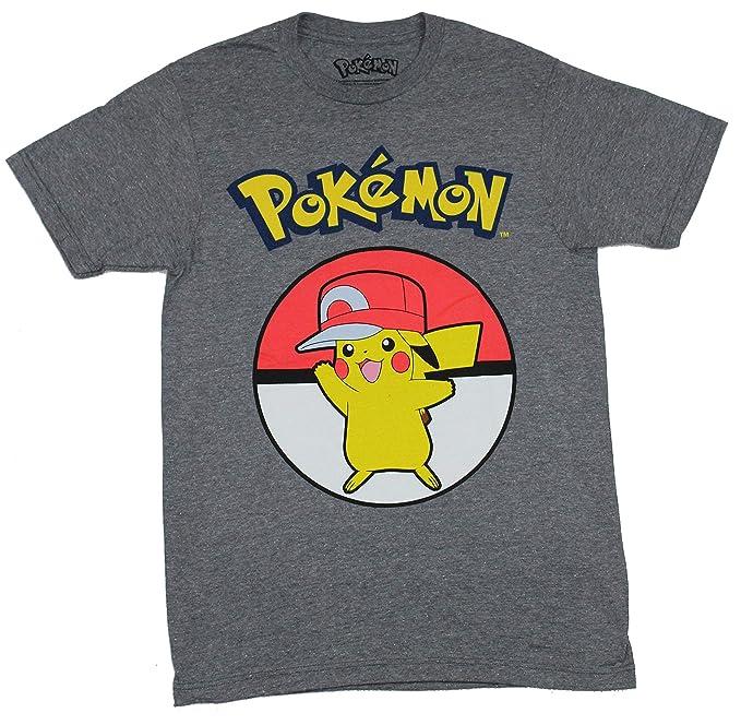 c0e28564 Amazon.com: Pokemon Pikachu in Ash's Hat Men's T-Shirt, Dark Gray ...