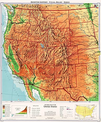 Amazon.com: Wall Map, United States: Western - Physical ...