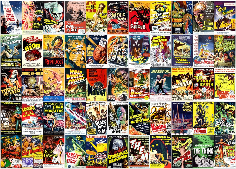 Brook & Wyman Vintage Horror & Sci-Fi Movie Posters Collage 1000 Piece Jigsaw Puzzle