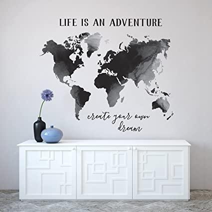 Better Than Paint Black Watercolor Map Phrases Set Wall Art Transfers Fast Easy
