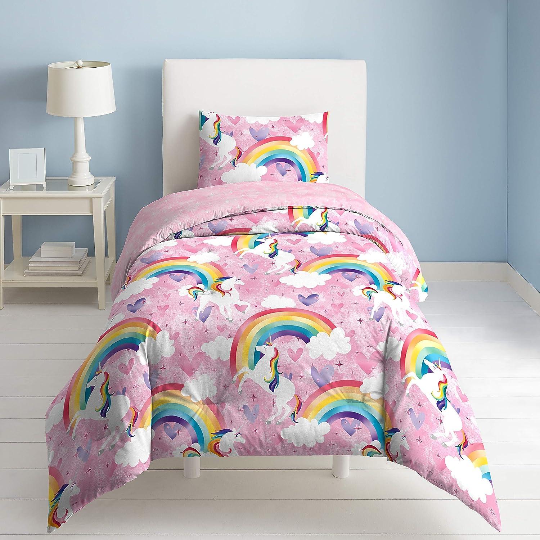 dream FACTORY Unicorn Rainbow Comforter Set, Twin, Pink