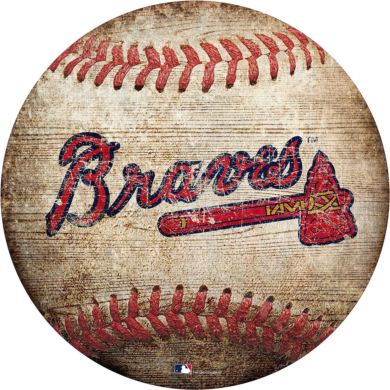 "Braves 12"" Baseball Shaped Sign"