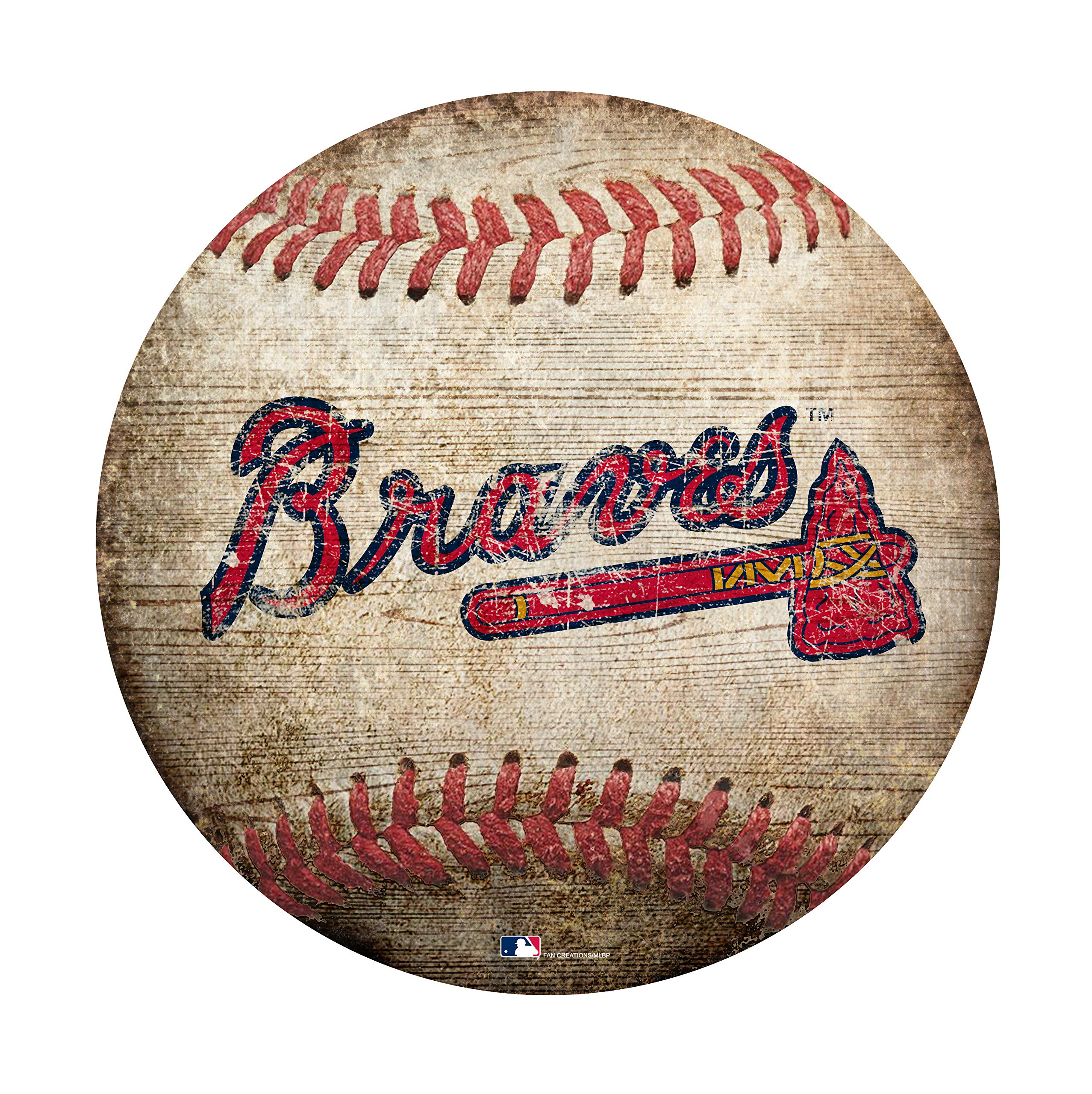 Fan Creations MLB Atlanta Braves 12'' Baseball Shaped Sign by Fan Creations