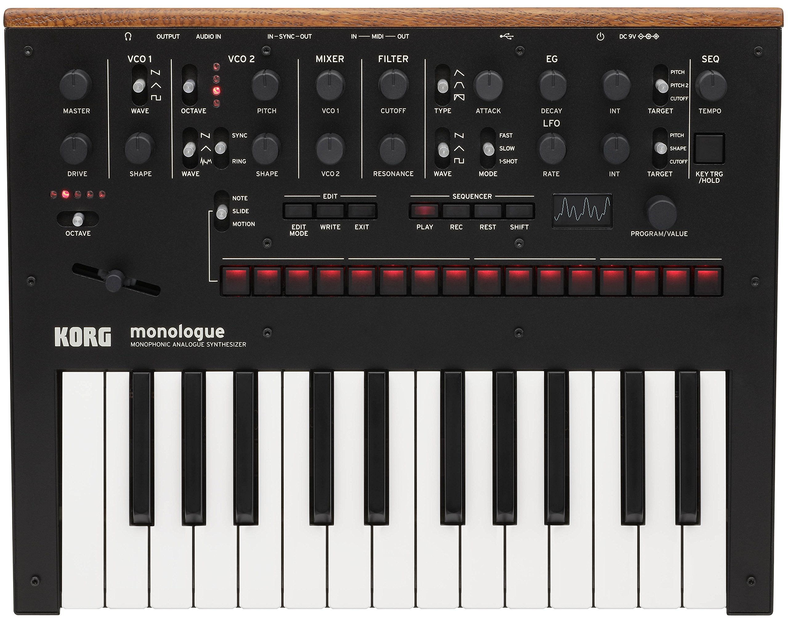 Korg Monologue Monophonic Analog Synthesizer - Black Bundle with Power Supply and Austin Bazaar Polishing Cloth by Korg (Image #2)