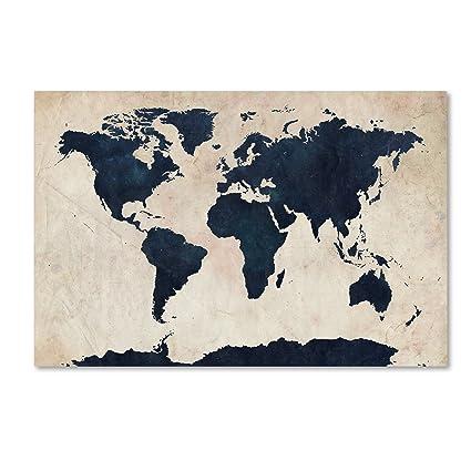 Amazon Com World Map Navy By Michael Tompsett 30x47 Inch Canvas