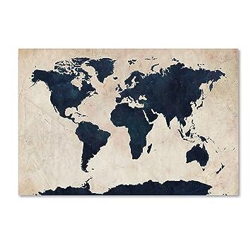 Amazon world map navy by michael tompsett 30x47 inch world map navy by michael tompsett 30x47 inch canvas wall art gumiabroncs Choice Image