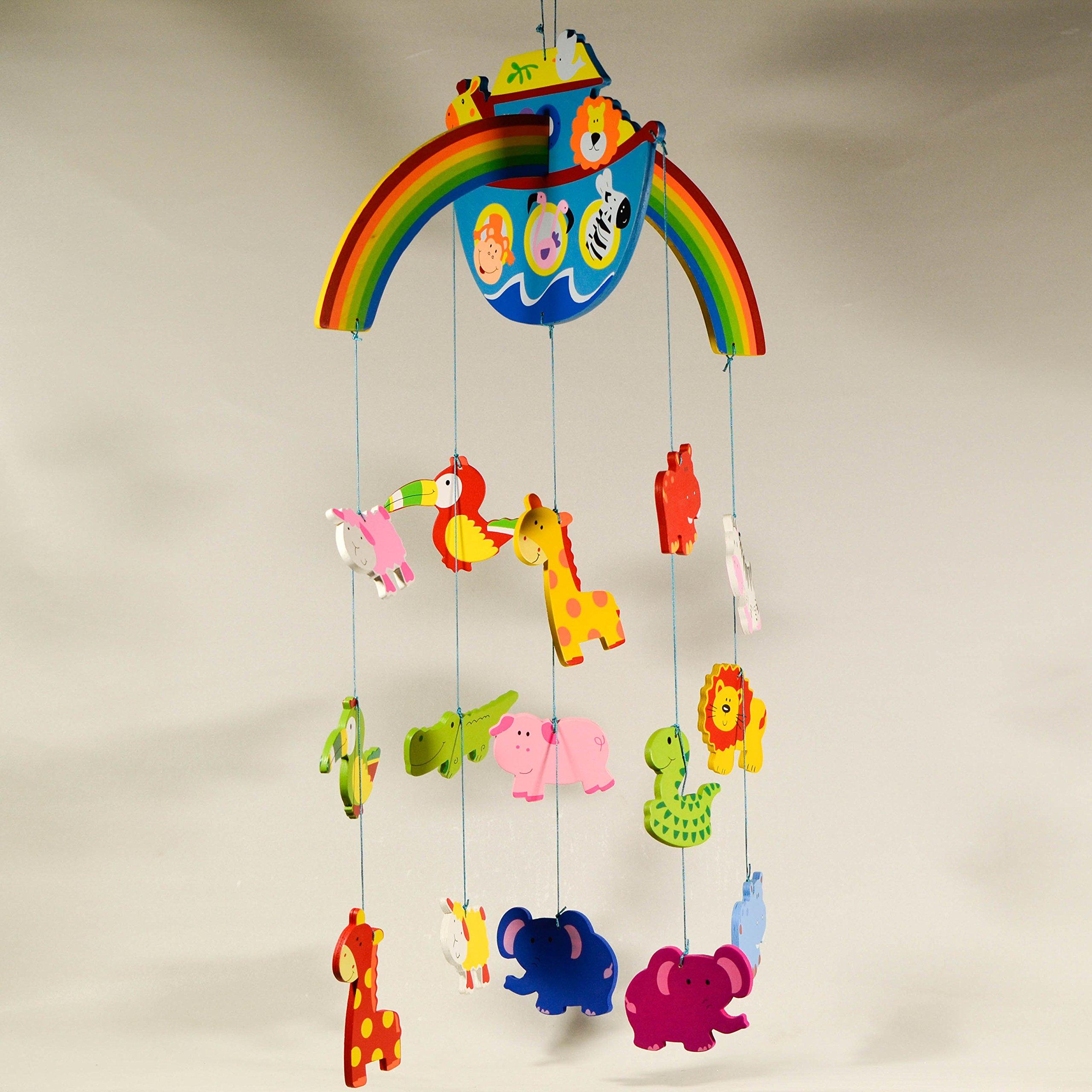 Noah's Ark Wooden Hanging Mobile - Nursery Decor - Animal Mobile Ornament - Baby Room Decor