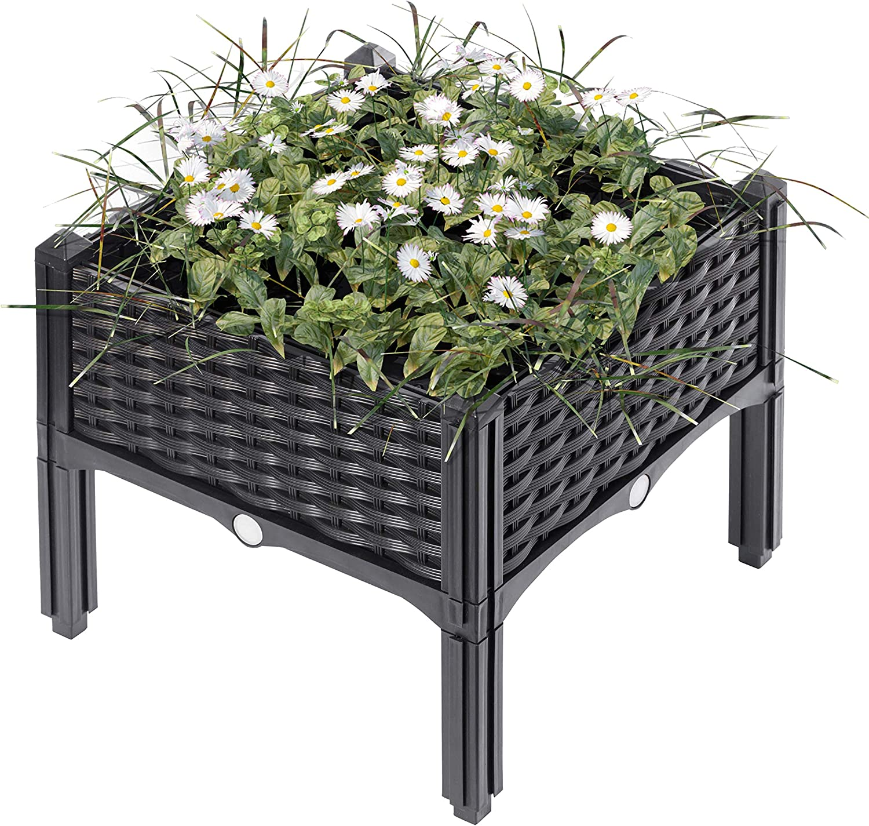 Gardenised QI003892.WL Rattan Raised Garden Bed Flower Planter, Charcoal