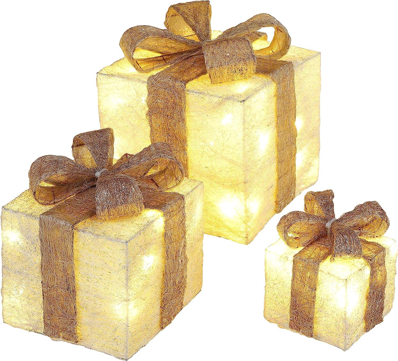 Bambelaa! Cajas de Regalo Led Decoración con Luz - Set de 3 incl. Función Temporizador - Decoración Navideña Decoración Navideña Iluminación (Oro): Amazon.es: Iluminación