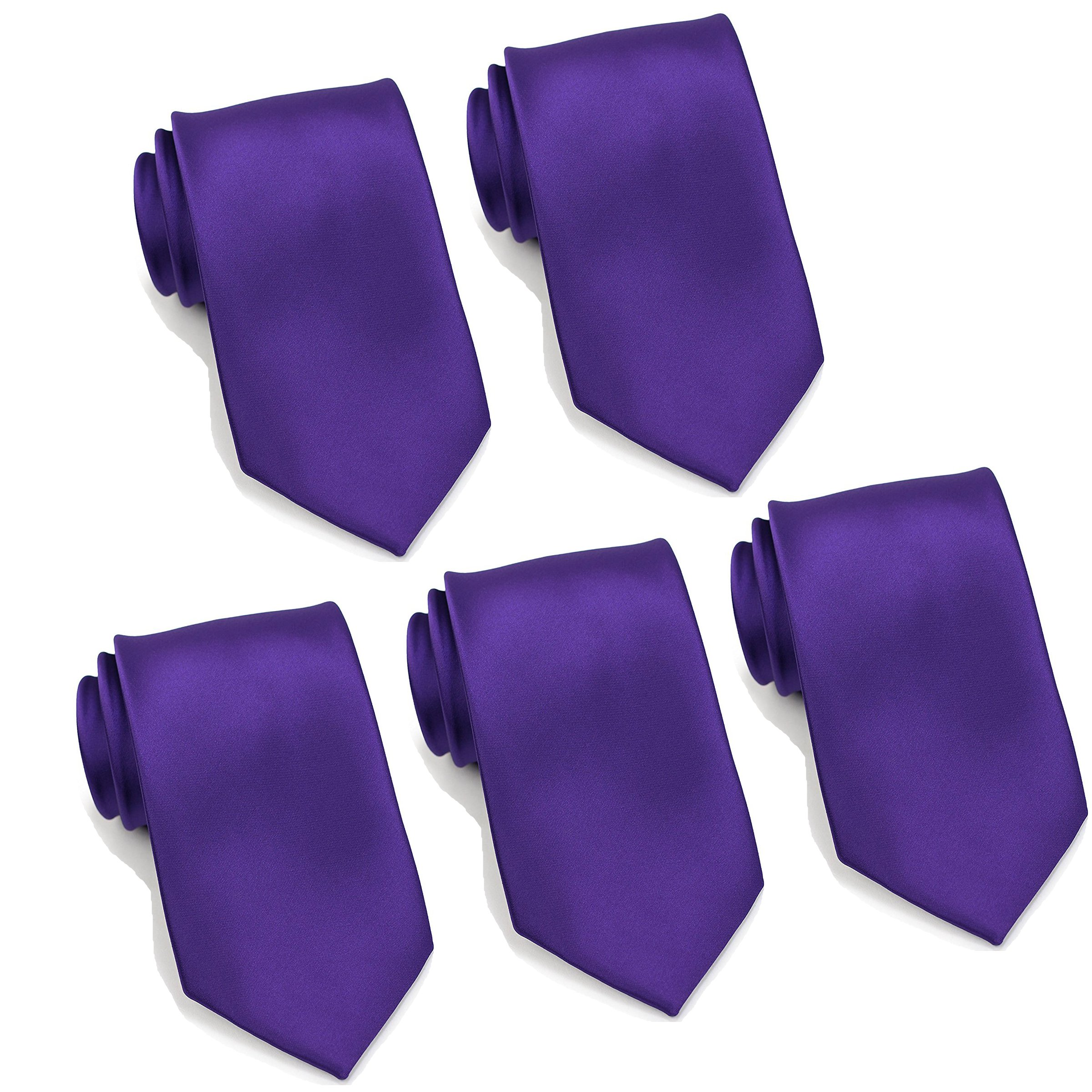 Mens Formal Tie Wholesale Lot of 5 Mens Solid Color Wedding Ties 3.5'' Satin Finish (Purple)