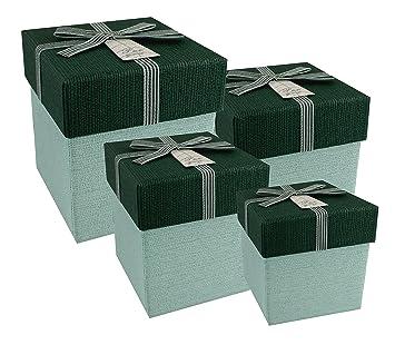 Emartbuy Juego De 4 Rígidos Cajas De Regalo Presentación De Lujo, Caja Minta Verde Claro