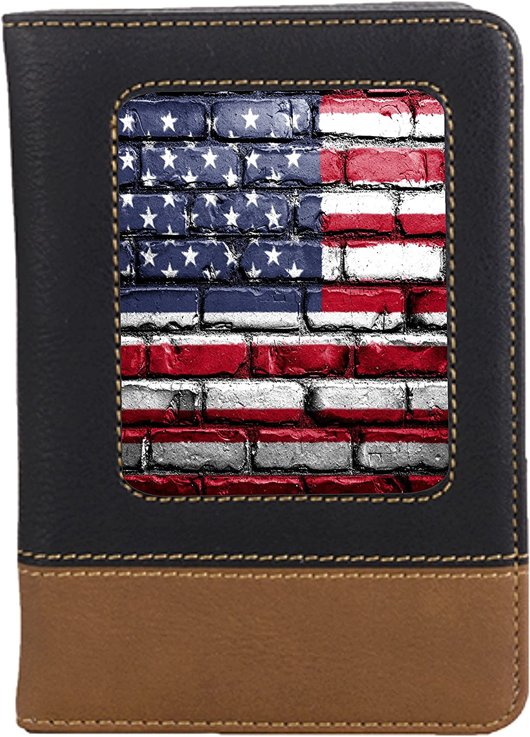 American Flag Brick Wall Leatherette Passport Wallet Style Case Cover For Travel
