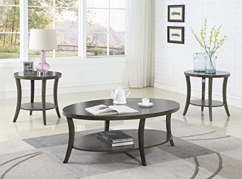 Roundhill Furniture Contemporary Perth Oval Shelf Coffee Table Set, Grey