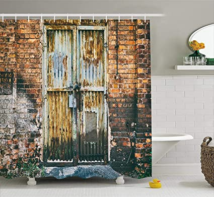 Ambesonne Rustic Home Decor Shower Curtain By Dilapidated Metallic Door Gate Entrance To Old Brick