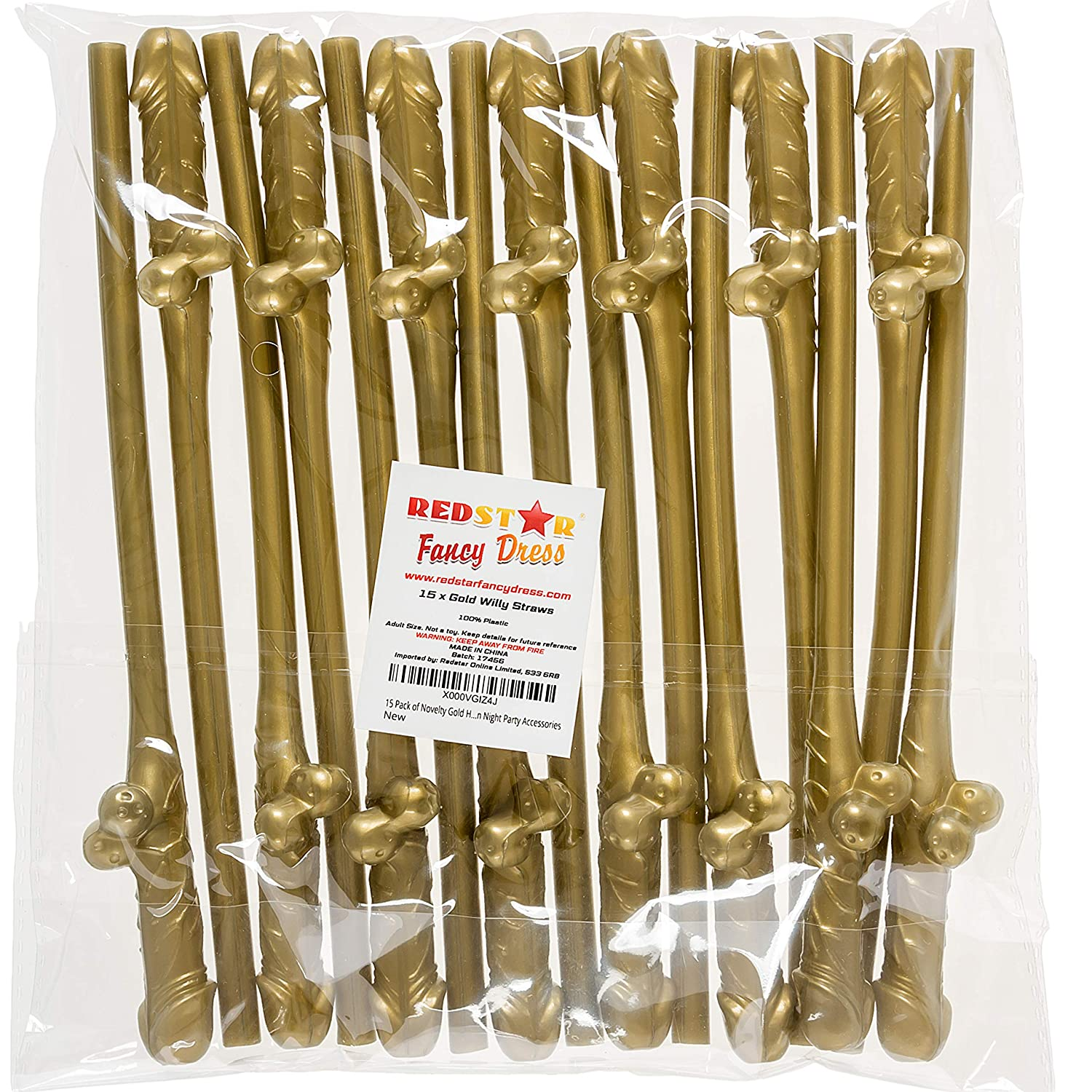15 Pack of Novelty Gold Hen Party Straws - Hen Night Party Accessories REDSTAR FANCY DRESS