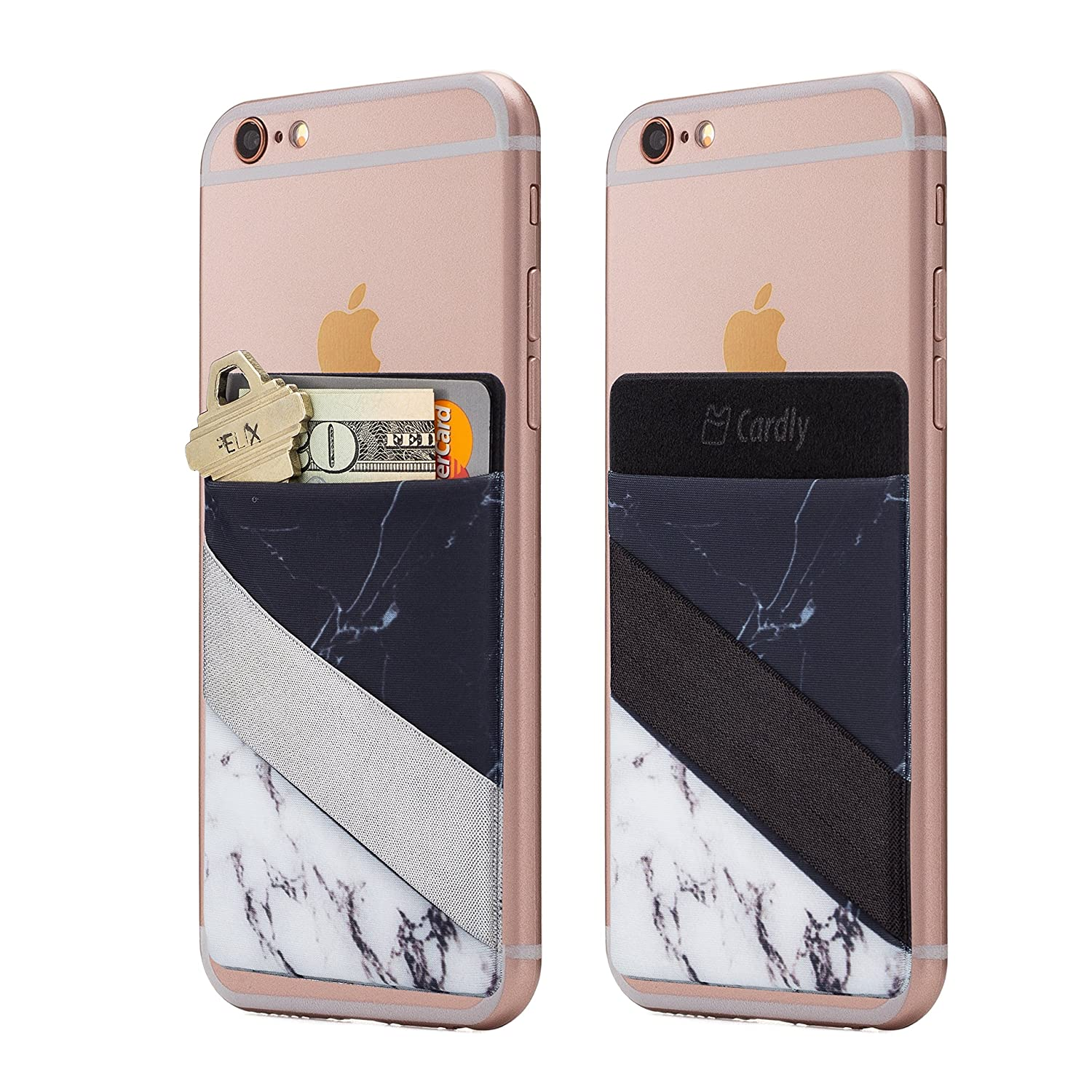 Android and All Smartphones. Two Finger Strap Cell Phone Stick on Wallet Card Holder Phone Pocket for iPhone Cardly Split Marble