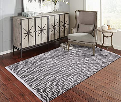Fernish D cor 100 Contemporary Cotton Diamond Design Area Rug Fully Reversible