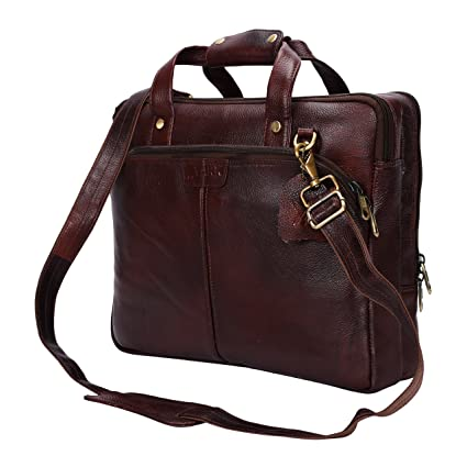 6992662a39e5 Yark Genuine Leather Laptop Bag/Briefcase Fits Upto 15.3 inches Laptop  Screen (Y10106) (Brown)