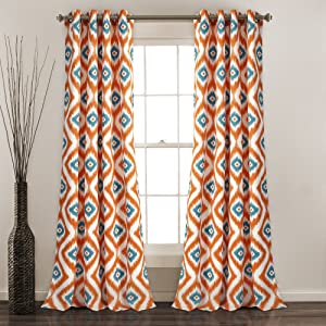 "Lush Decor Diamond Ikat Window Curtain Panel Set 84"" x 52"" Turquoise/Orange"