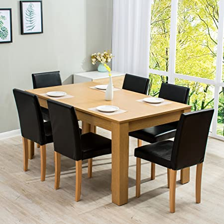Cherry Tree Furniture 7 Piece Dining Room Set 6 Seater 150 X 90 CM