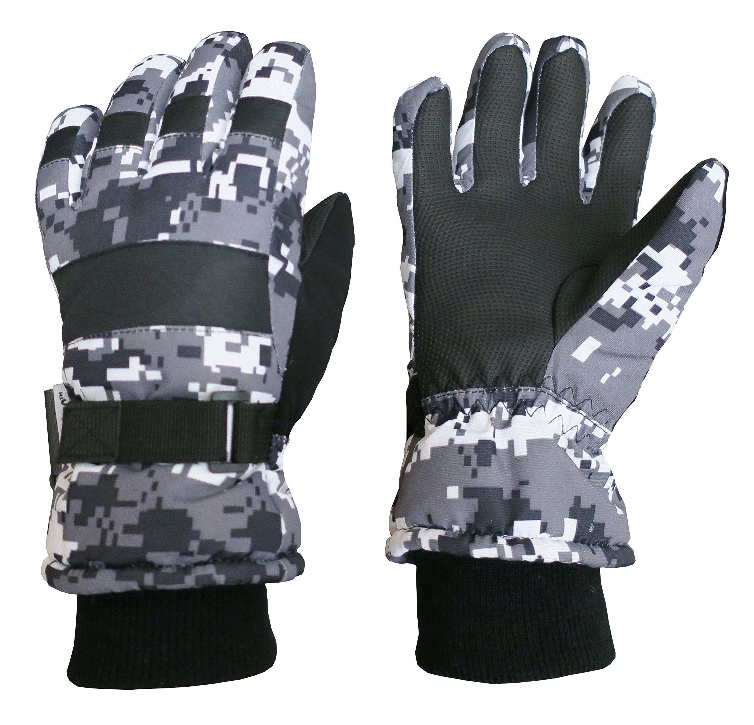 N'Ice Caps Kids Cold Weather Waterproof Camo Print Thinsulate Ski Gloves (Black/Grey Digital Camo, 4-5 Years)