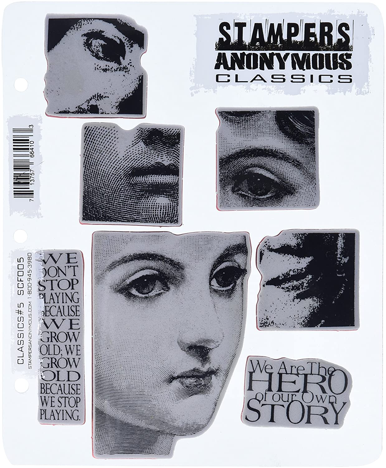 7 by 8.5-Inch Classics No.5 Stampers Anonymous Rubber Stamp Set