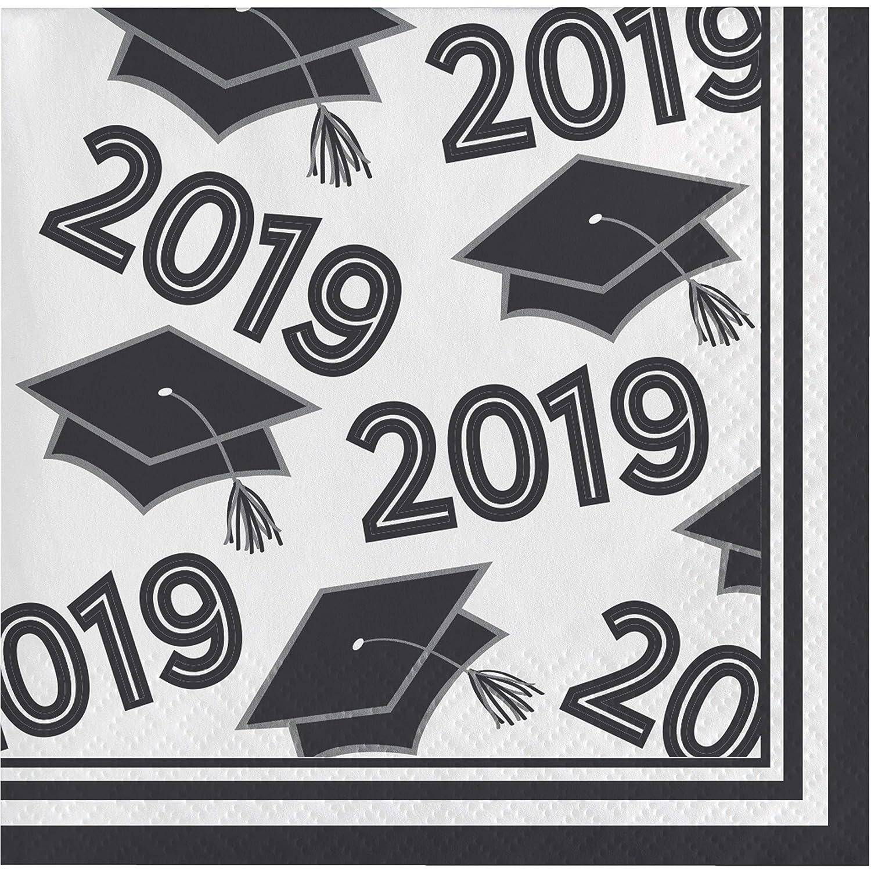 "Creative Converting 335412 White Class of 2019 Beverage Napkins 5/"","