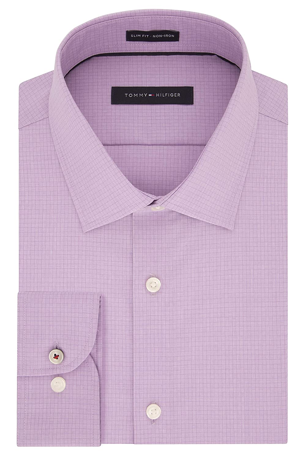 663d0d90a Tommy Hilfiger Men's Dress Shirts Non Iron Slim Fit Check at Amazon Men's  Clothing store: