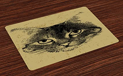 85390d50ece4 Lunarable Cat Place Mats Set of 4, Retro Style Grunge Kitty Portrait  Hipster Animal Staring