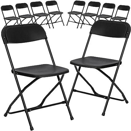 Flash Furniture 10 Pk. HERCULES Series 800 Lb. Capacity Premium Black  Plastic Folding Chair