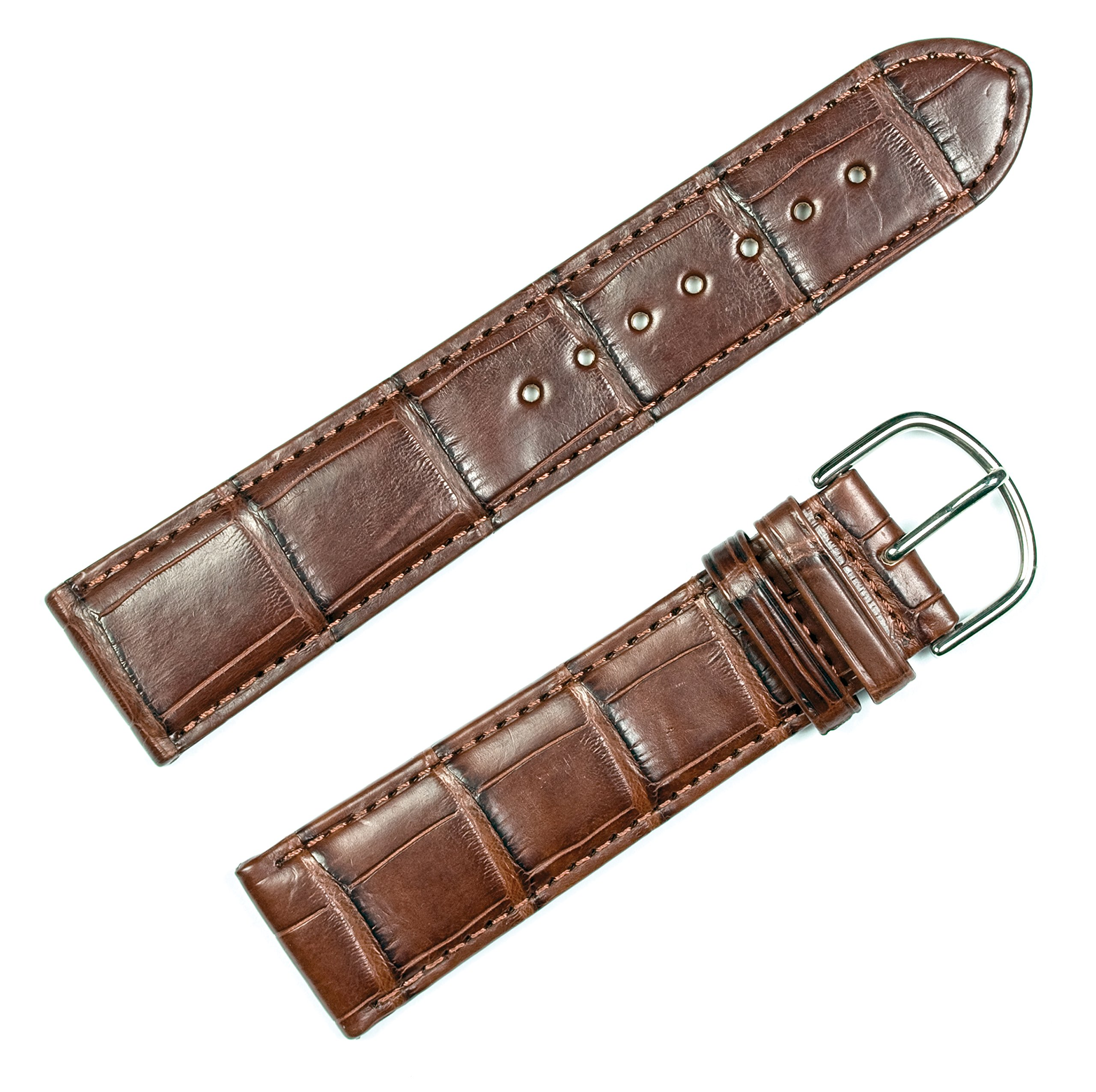 Genuine Alligator Watchband Brown 20mm Watch Band by deBeer