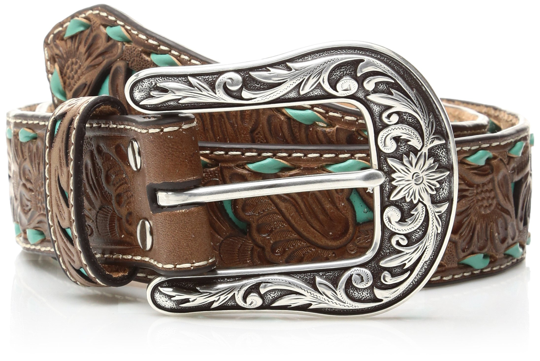 Nocona Belt Co. Women's Turquoise Inlay Buck Belt, brown, Small