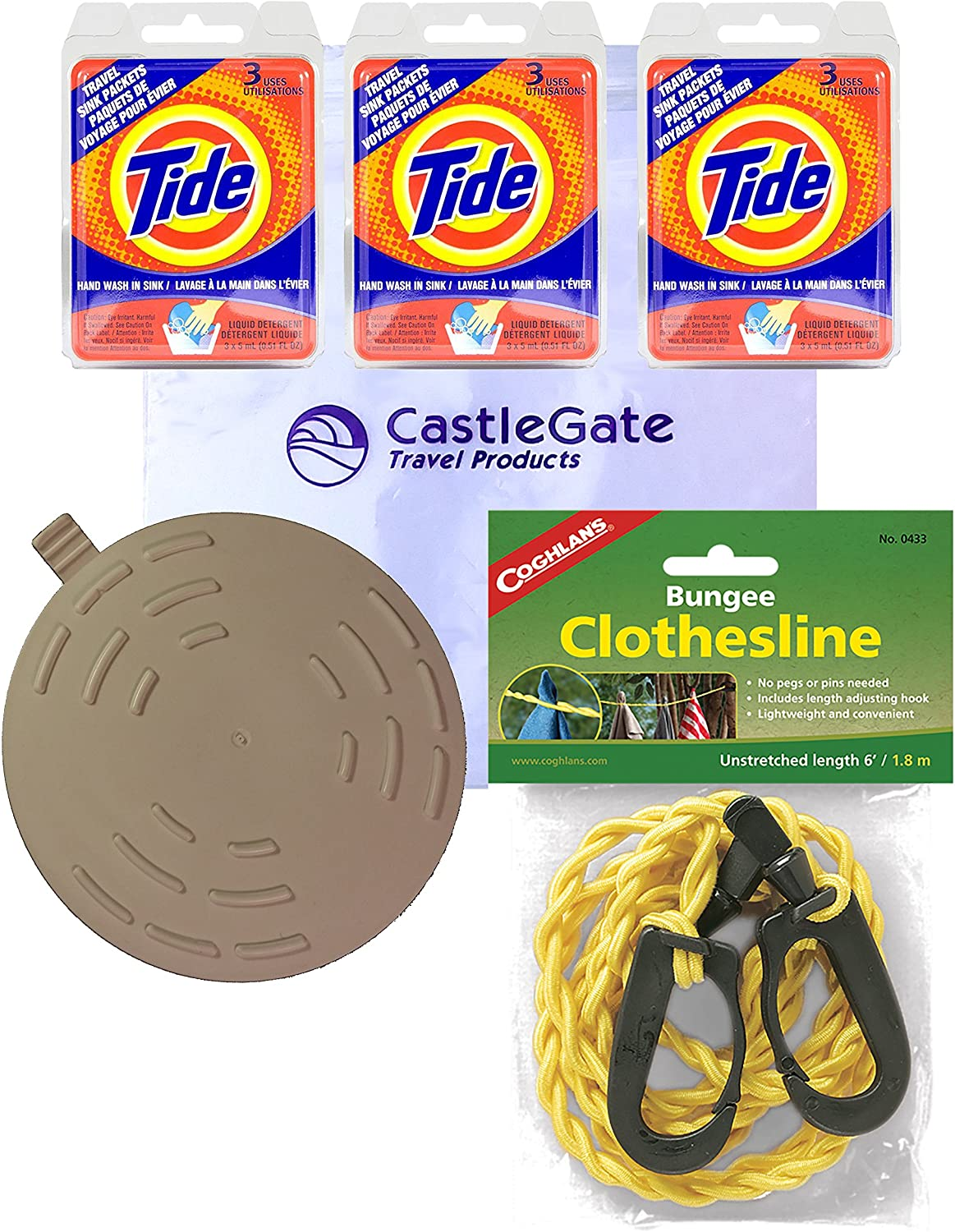 Premium Travel Laundry Kit: Tide Liquid Sink Packets, Drain Stopper and Coghlan's Travel Size Bungee Clothesline
