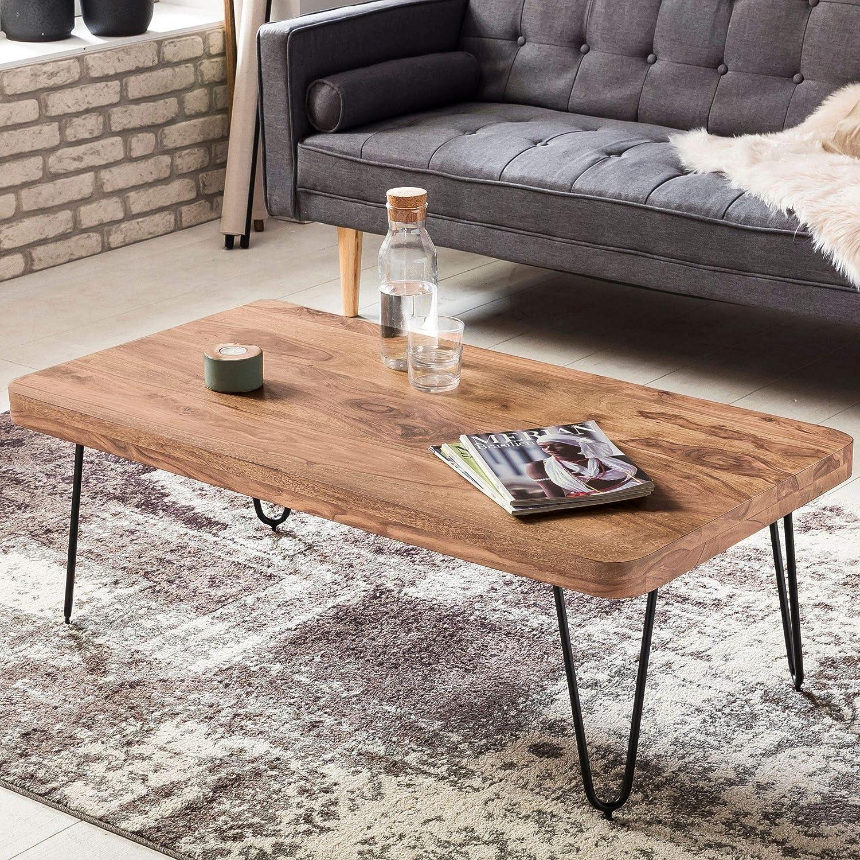 FineBuy Couchtisch Massiv-Holz Akazie 115 cm breit Wohnzimmer-Tisch Design Metallbeine Landhaus-Stil Beistelltisch Natur-Produkt Wohnzimmermöbel Unikat modern Massivholzmöbel Echtholz rechteckig