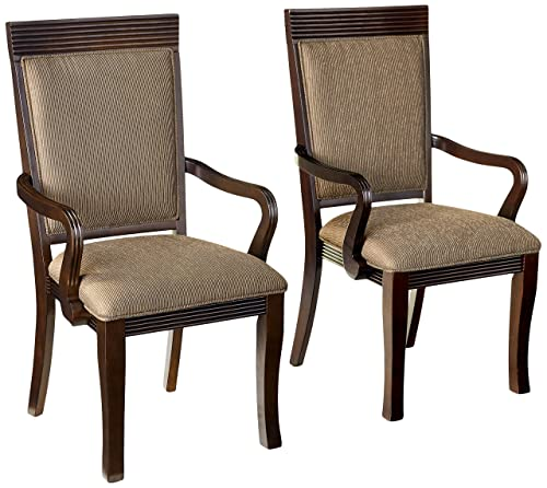 Furniture of America Aiken Formal Padded Fabric Arm Chair, Walnut Finish, Set of 2