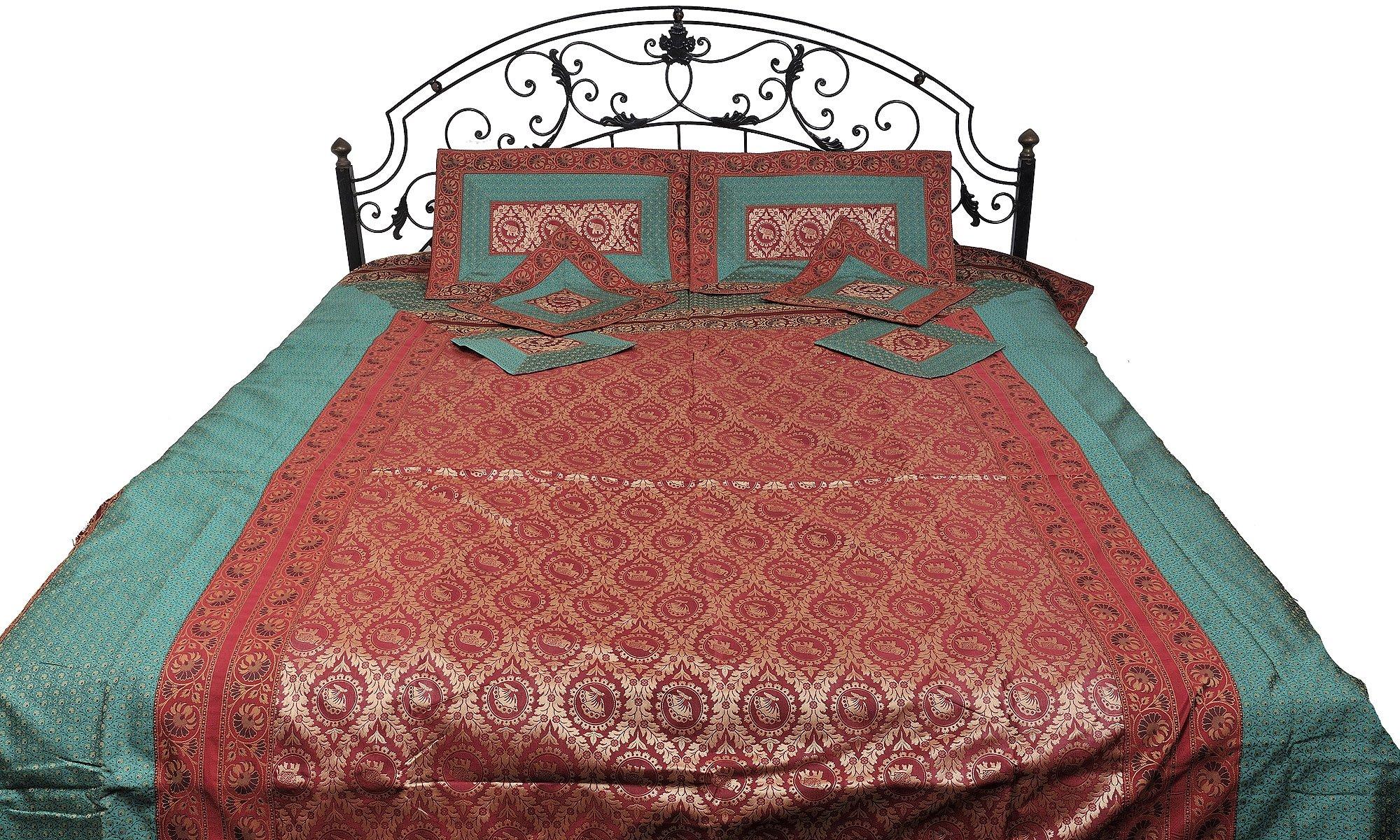 Scarlet and Green Seven-Piece Banarasi Bedspread with woven Elephants and Butterflies - Art Silk wit