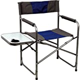 PORTAL Compact Steel Frame Folding Director's Chair Portable Camping Chair with Side Table, Supports 300 LBS