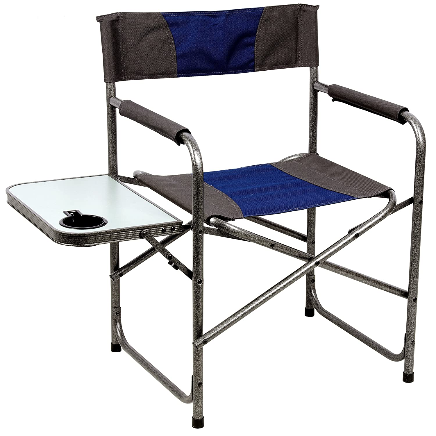 Portal Compact Steel Frame Folding Director s Chair Portable Camping Chair with Side Table, Supports 225 LBS