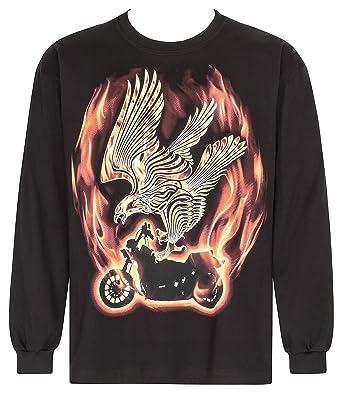 Bushfire Langarm T-Shirt Biker Shirt Flaming Eagle schwarz  Amazon.de   Bekleidung cbf1af7b85