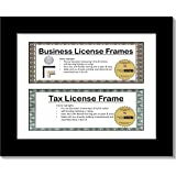CreativePF [Z37F-DL8.5x11bk-w] Black Double Business License Frame with Two 3x8.5-inch Opening Mat Including Easel Stand and Wall Hangers