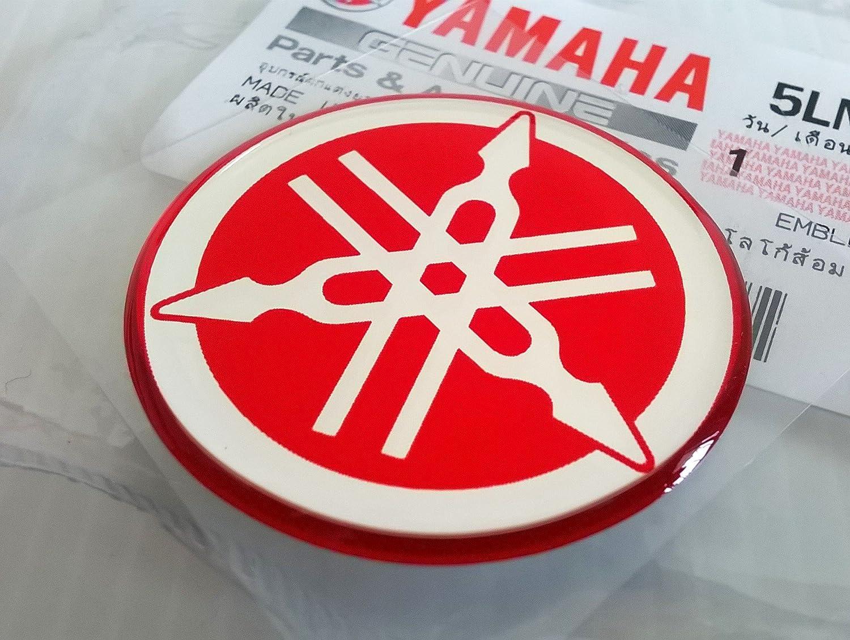 Yamaha 5LN-F313B-09-RE - Genuine 40MM Diameter Yamaha Tuning Fork Decal Sticker Emblem Logo Red Raised Domed Gel Resin Self Adhesive Motorcycle/Jet Ski/ATV/Snowmobile