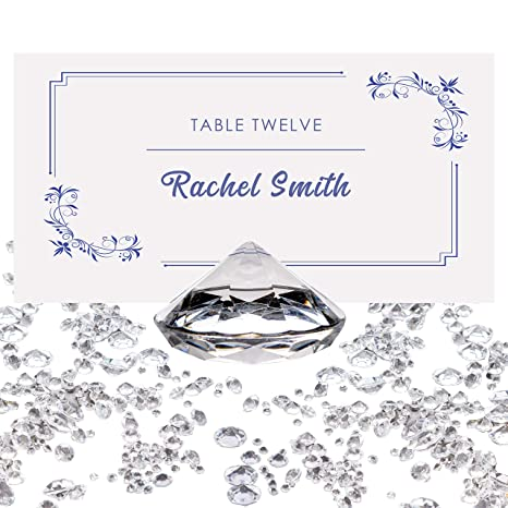 Luxury Diamond Place Card or Table Number Holder [20 Pack] with Matching  Diamond Table Confetti [Over 6,000 Diamonds] Crystal-Clear Acrylic Party  and