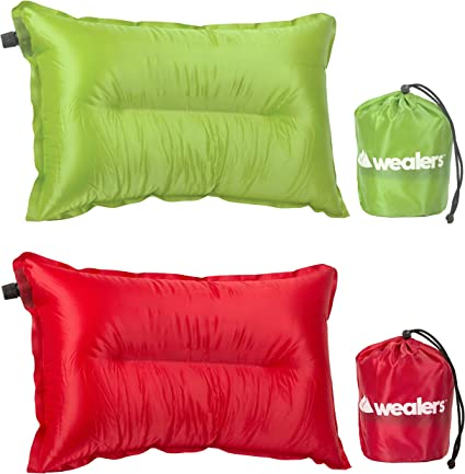 Travel Cushion Automatic Inflatable Air Pillow Pad Wealers Camping Pillow for Travel Camping Hiking Backpacking Outdoors Compact and Lightweight