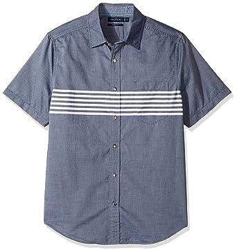 9caa905a9b Nautica Men's Short Sleeve Classic Fit Striped Button Down Shirt, Maritime  Navy/Blue,