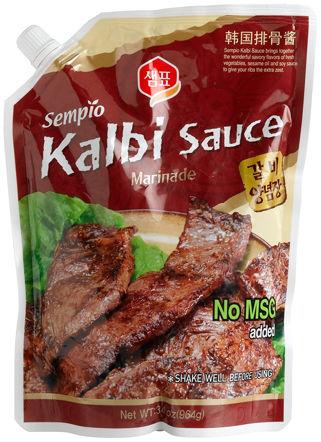 Amazon Com Sempio Kalbi Sauce Marinade 34 Ounce Pour Bag Pack Of 3 Gourmet Marinades Grocery Gourmet Food