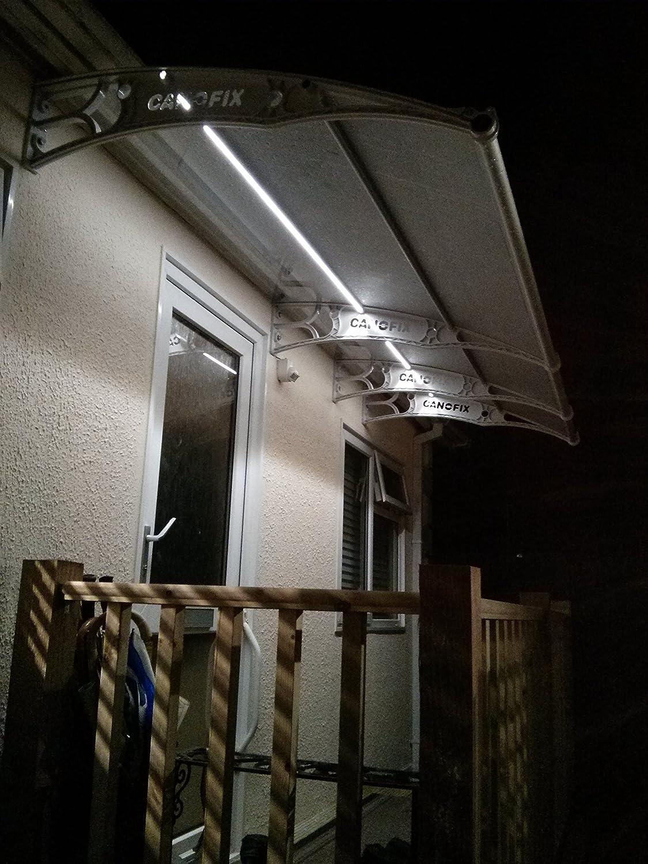 Bricolaje policarbono voladizo Canofix Canopy jardín 1500 x 3000 mm/puerta fumar refugio cobertizo calzada Patio (negro o gris soporte transparente, ...