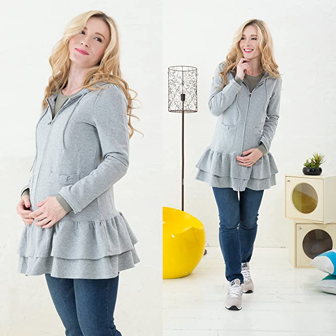6a964708d1feb Sweet Mommy Ruffle Hem Maternity Zipped Hoodie with baby pouch Gray, M at Amazon  Women's Clothing store: Fashion Maternity Outerwear
