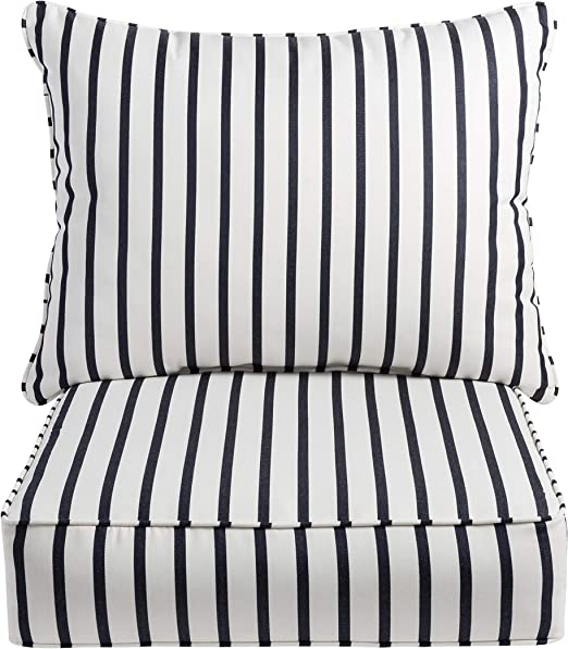 Brown /& Black Stripes 20 x 20 Set of 2 Mozaic Company AZPS0051 Indoor Outdoor Sunbrella Square Pillow with Corded Edges